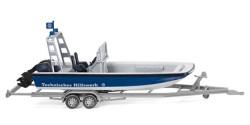 Anhänger mit Mehrzweckboot MZB 72 Lehmar THW